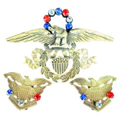 American Eagle Red White and Blue Crest Joseff of Hollywood Pin and Earrings