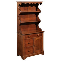 American Early 20th Century Cherry Bathroom Cabinet with Shelves and Drawers
