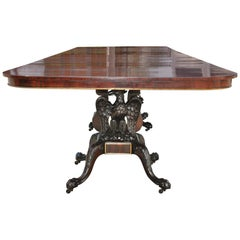 American Early 20th Century Federal Revival Three Pedestal Dining Table