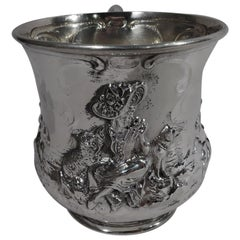 American Edwardian Sterling Silver Baby Cup with Hussy Shepherdess