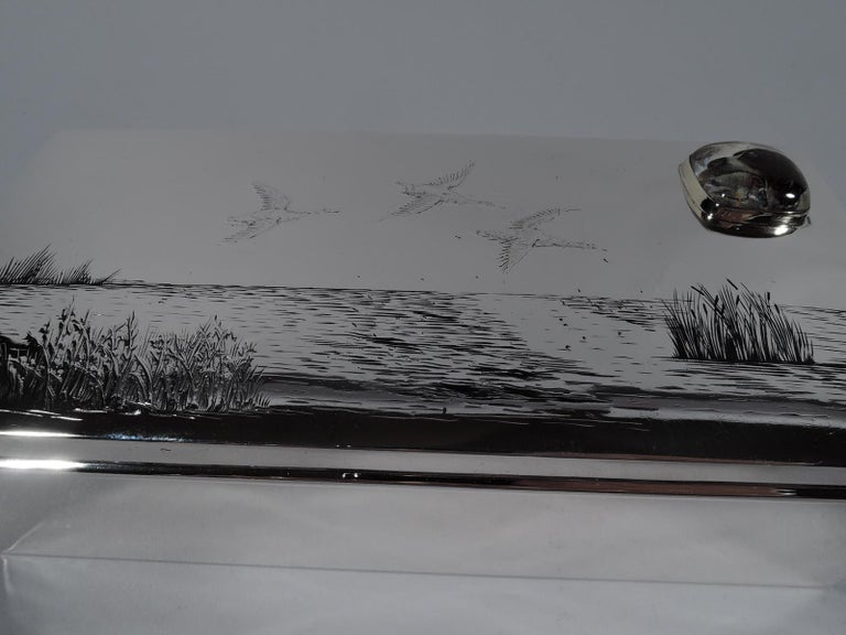 American Edwardian Sterling Silver Duck Hunt Box with Essex Crystal For Sale 1