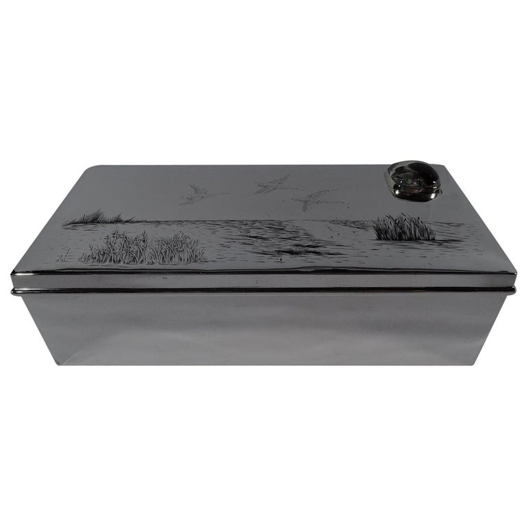 American Edwardian Sterling Silver Duck Hunt Box with Essex Crystal For Sale