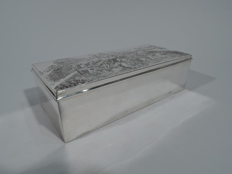 American Edwardian Sterling Silver Riding with Hounds Fox Hunting Box In Excellent Condition For Sale In New York, NY