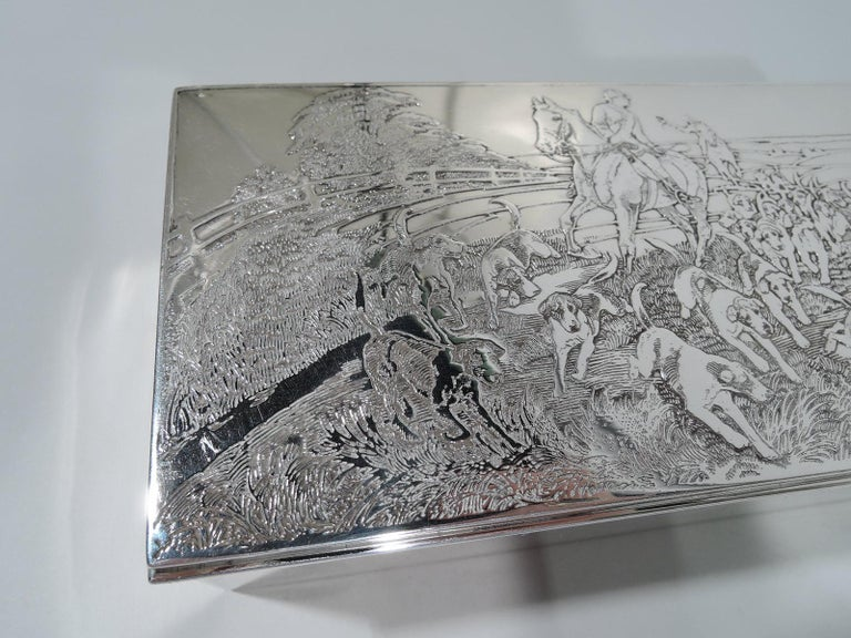 Early 20th Century American Edwardian Sterling Silver Riding with Hounds Fox Hunting Box For Sale