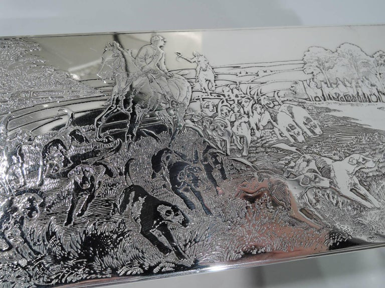 American Edwardian Sterling Silver Riding with Hounds Fox Hunting Box For Sale 1