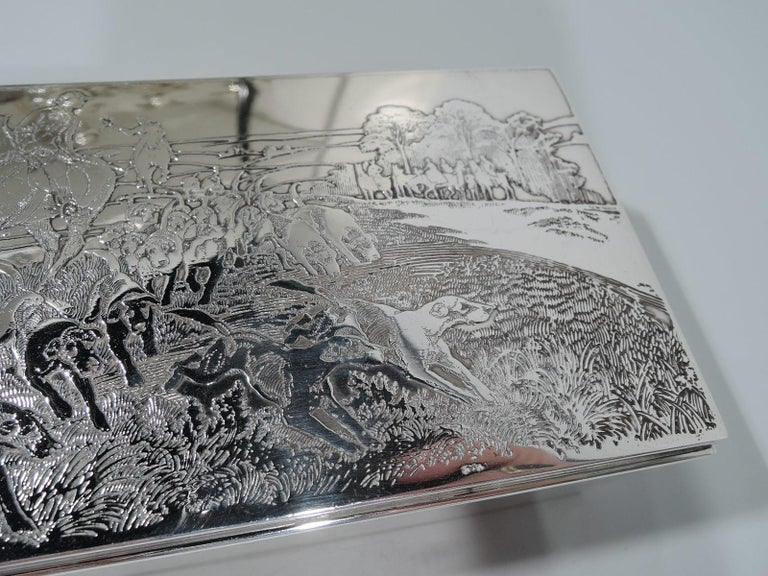 American Edwardian Sterling Silver Riding with Hounds Fox Hunting Box For Sale 2