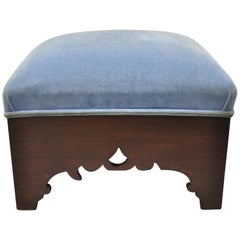 American Empire Carved Mahogany Blue Upholstered Square Footstool Stool Ottoman