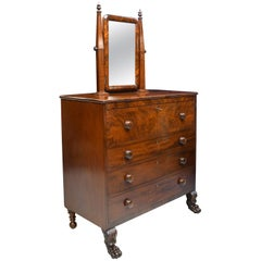 American Empire Chest of Drawers with Mirror in Mahogany, Maine, circa 1830
