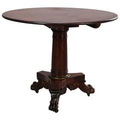 American Empire Classical Quervelle School Flame Mahogany Tilt-Top Table