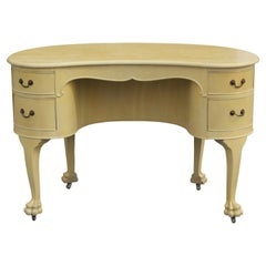American Empire Kidney Shaped Lion Paw Foot Desk with Four Drawers