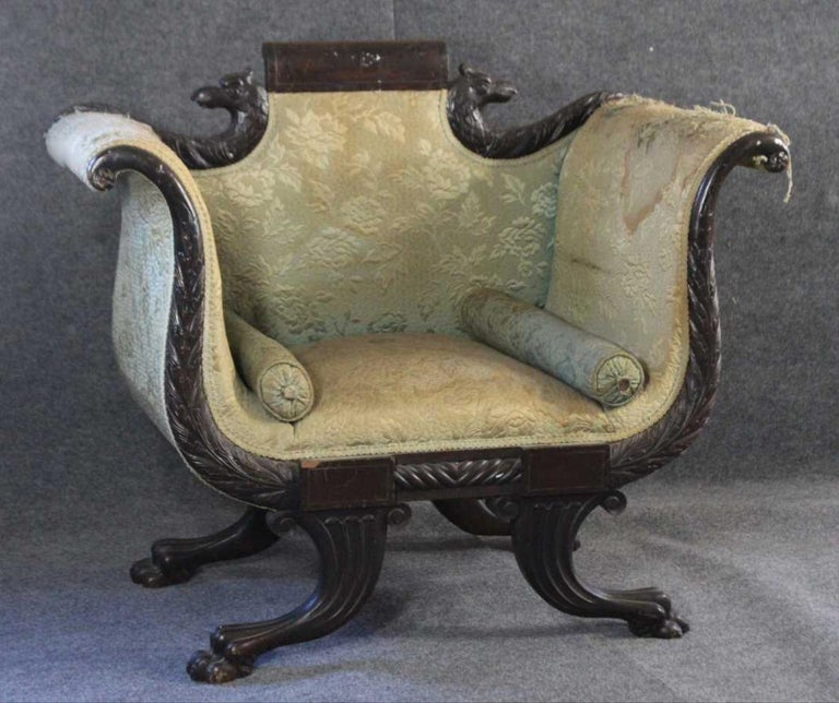 American Empire Mahogany Armchair For Sale 9