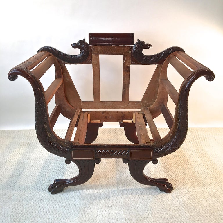 American Classical American Empire Mahogany Armchair For Sale