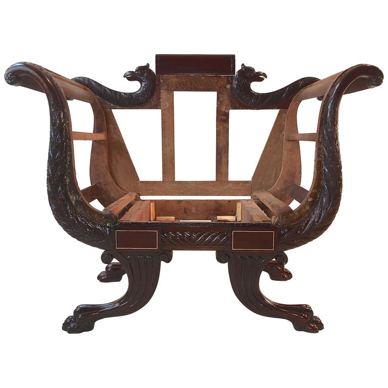 American Empire Mahogany Armchair For Sale at 1stdibs