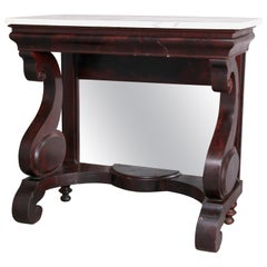 American Empire Meeks School Flame Mahogany and Marble Pier Table, circa 1840