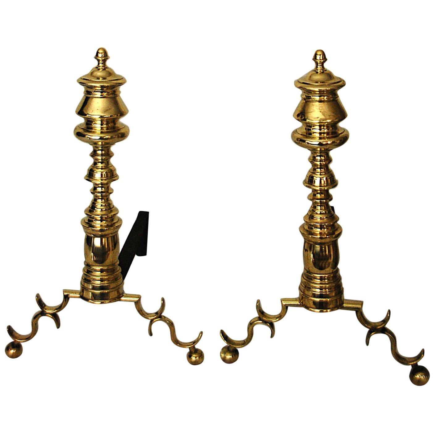 American Empire Period Brass Andirons