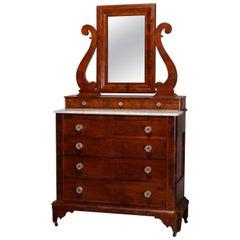 American Empire Quervelle School Flame Mahogany Gentleman's Dresser, circa 1840