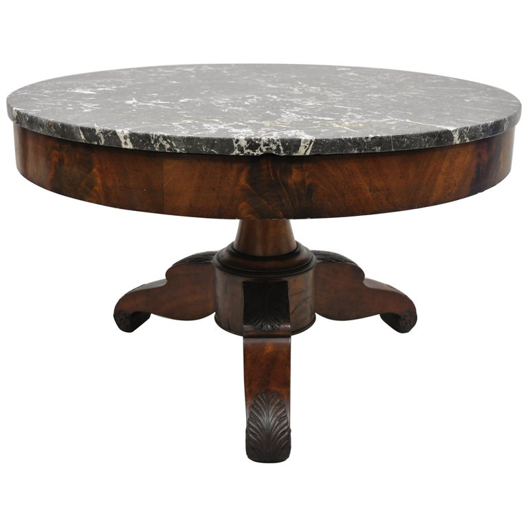 American Empire Round Marble-Top Flame Mahogany Pedestal Base Coffee Table For Sale