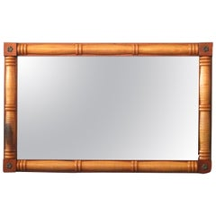 American Empire Style Cherry & Tiger Maple Wall Mirror, 20th Century