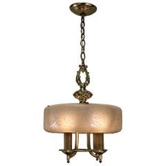American Etched Glass Art Deco Lightolier Chandelier