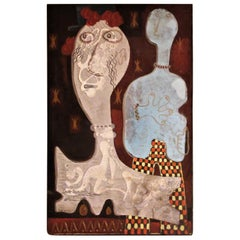 American Expressionist Oil Painting with Two Figures by Zoute, 1946