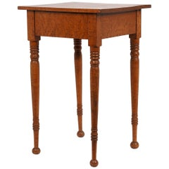 American Federal Birdseye Maple Work Table with Turned Legs and Ball Feet