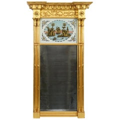 American Federal Carved Giltwood Pier Mirror w. Églomisé Panel, Boston 1800-1820