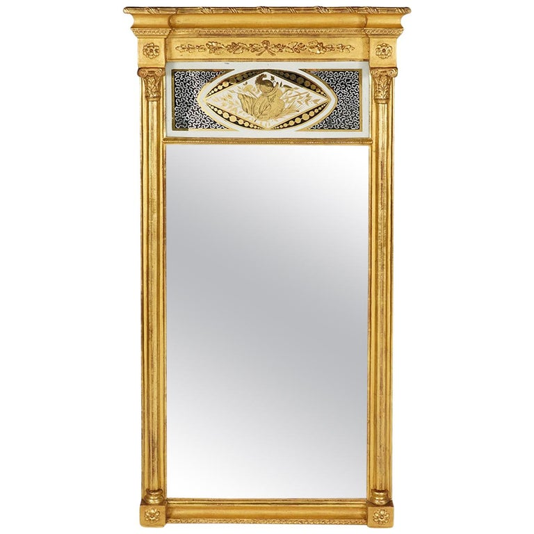 American Federal Carved Giltwood Pier Mirror with Églomisé Panel For Sale