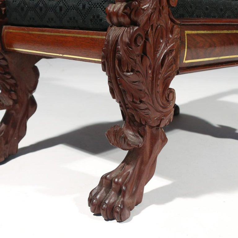 American Federal Classical Mahogany Foot Stool With Eagle