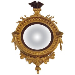 American Federal Gilt Wood Ebonized Eagle Girandole Convex Mirror, Circa 1810