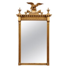 American Federal Gilt-Wood Eagle Crest Mirror, Early 19th Century
