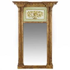 American Federal Giltwood Eglomisé Panel Pier Mirror, New England, circa 1810