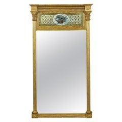 American Federal Giltwood Églomisé Antique Pier Mirror, circa 1805-1815