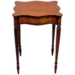American Federal Inlaid Mahogany Work Table, New England