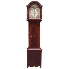 American Federal Mahogany Inlaid and Painted Tall Case Clock, Circa 1815