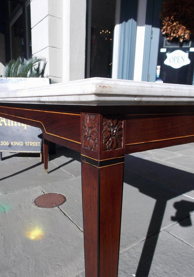 American Federal Mahogany Marble Top Satinwood & Ebony Inlaid Console, C. 1790 For Sale 5