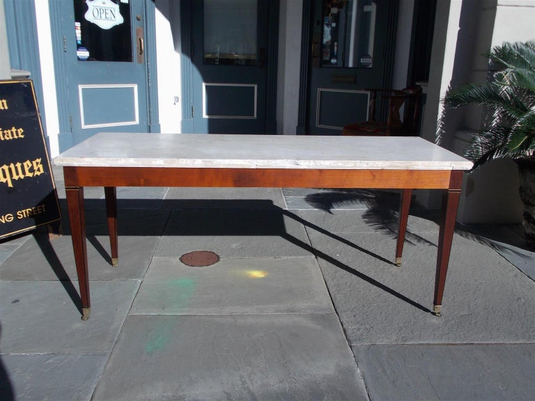 American Federal Mahogany Marble Top Satinwood & Ebony Inlaid Console, C. 1790 For Sale 7