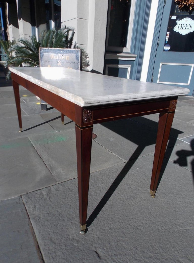 American Federal Mahogany Marble Top Satinwood & Ebony Inlaid Console, C. 1790 For Sale 9