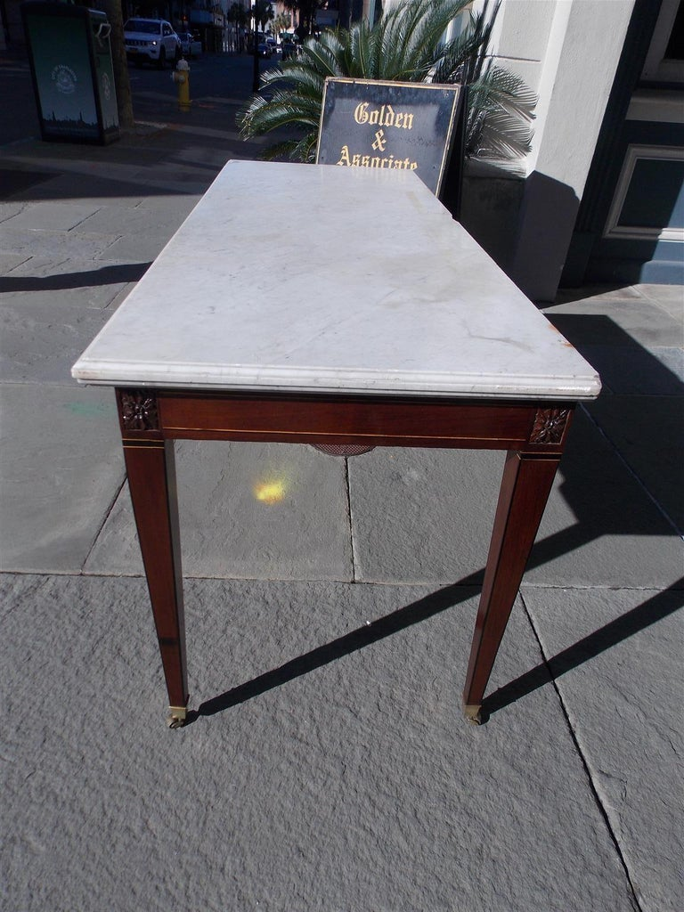 Late 18th Century American Federal Mahogany Marble Top Satinwood & Ebony Inlaid Console, C. 1790 For Sale