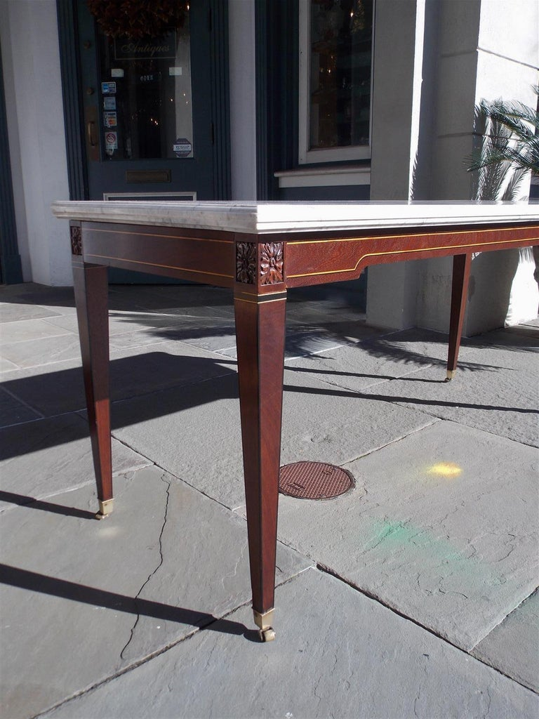 American Federal Mahogany Marble Top Satinwood & Ebony Inlaid Console, C. 1790 For Sale 1