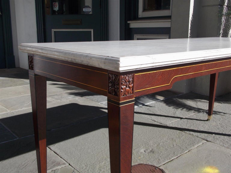 American Federal Mahogany Marble Top Satinwood & Ebony Inlaid Console, C. 1790 For Sale 2