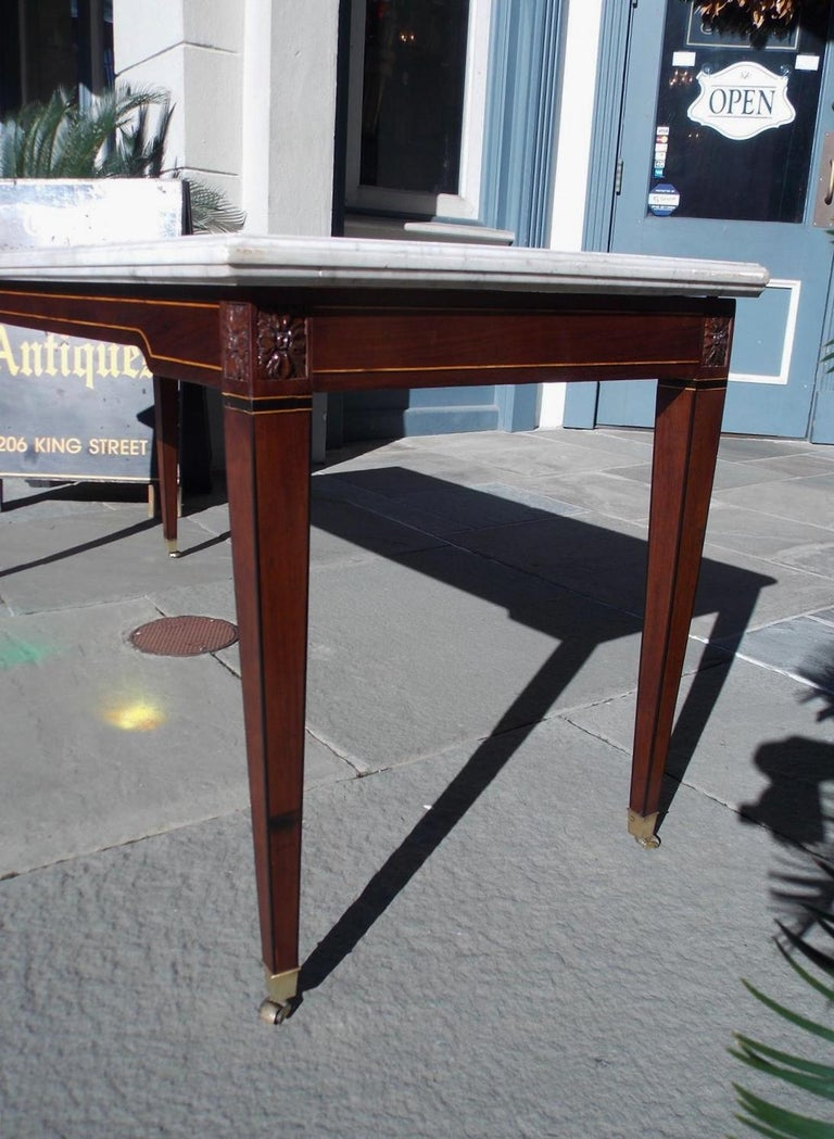 American Federal Mahogany Marble Top Satinwood & Ebony Inlaid Console, C. 1790 For Sale 3