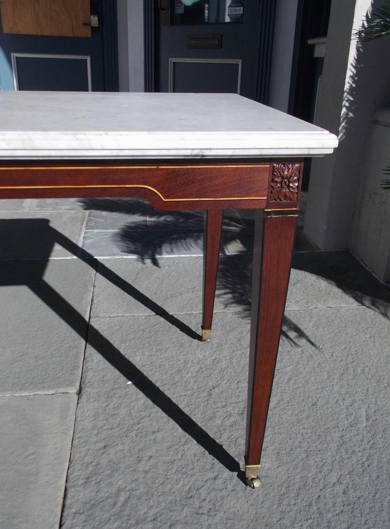 American Federal Mahogany Marble Top Satinwood & Ebony Inlaid Console, C. 1790 For Sale 4