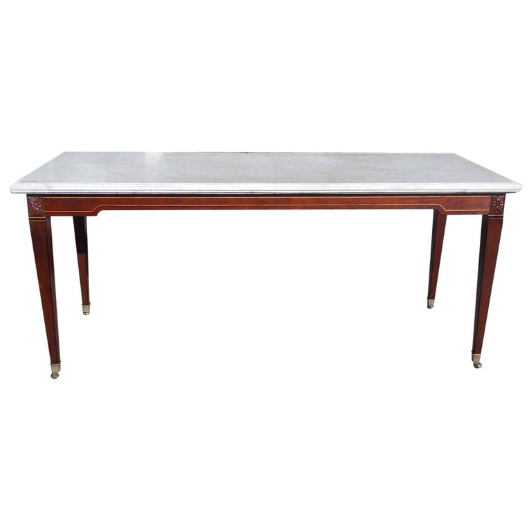 American Federal Mahogany Marble Top Satinwood & Ebony Inlaid Console, C. 1790 For Sale