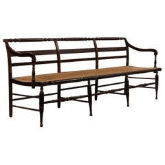 American Federal Painted Bench with Rush Seat