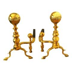 American Federal Period Brass Ball Top Andirons, Boston Region