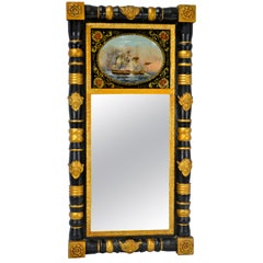 American Federal Period Ebonized Mirror with an Eglomisé Naval Battle Scene