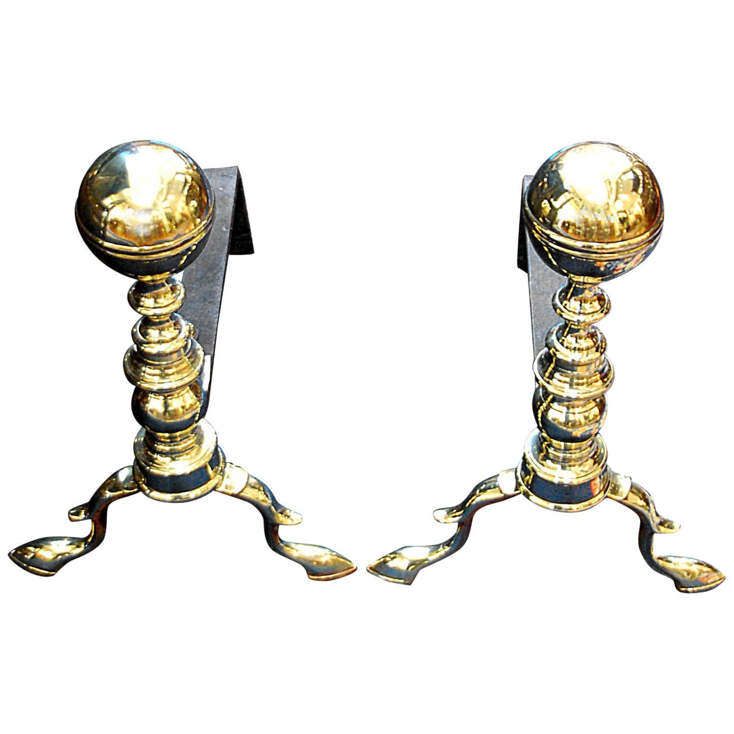American Federal Period Pair of Brass Belted Ball Top Andirons