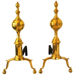 American Federal Period Signed Brass Andirons Belted and Spired Ball Tops