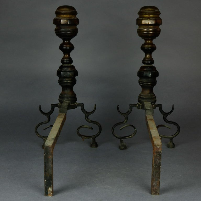 19th Century American Federal Philadelphia Style Brass Beehive Fireplace Andirons, circa 1850 For Sale