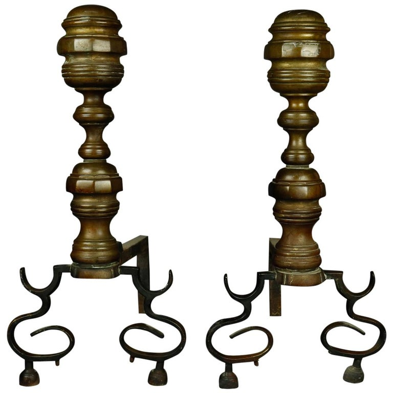 American Federal Philadelphia Style Brass Beehive Fireplace Andirons, circa 1850 For Sale